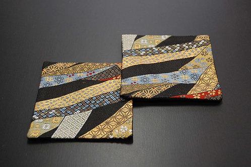 金襴織コースター 熨斗(濃紺) 2枚セット
