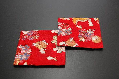 金襴織コースター 花うさぎ 2枚セット