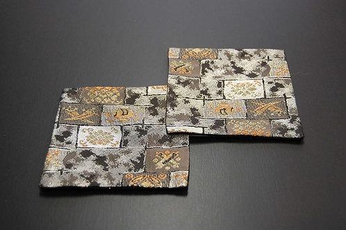 金襴織コースター 銀趣 2枚セット