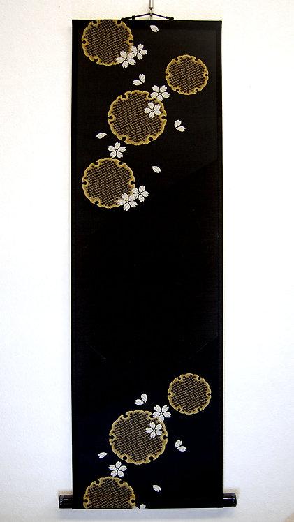 色紙掛軸 雪輪 黒