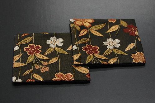 金襴織コースター 桜 2枚セット