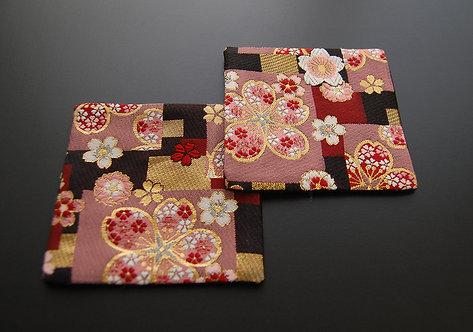 和風金襴織コースター 紅桜