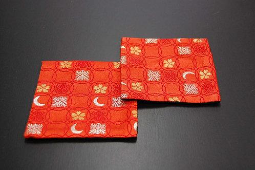 金襴織コースター 雪月花(朱) 2枚セット