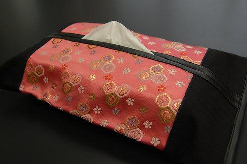 金襴ティッシュボックスカバー 桃花