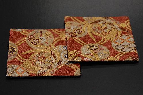 金襴織コースター 鳳凰(赤) 2枚セット