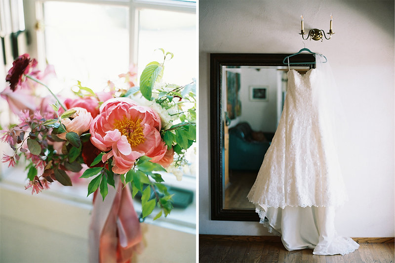 Colorful and elegant spring wedding with peonies at Chateau Lill with flowers designed by Seattle Florist Botanique