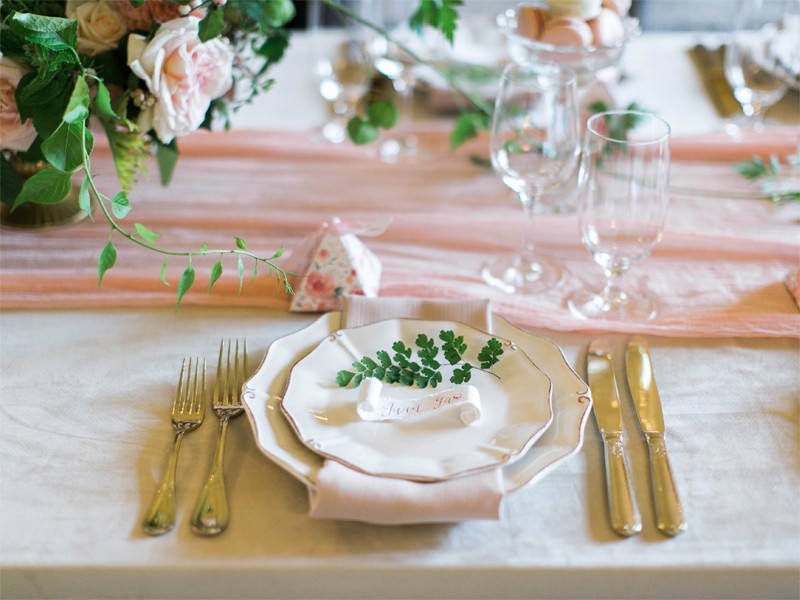 Romantic Pink Thornewood Castle Wedding Flowers Fern Place Setting