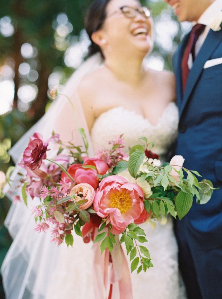 Colorful and elegant spring wedding bouquet with peonies at Chateau Lill with flowers designed by Seattle Florist Botanique