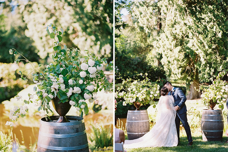 Elegant white and green spring wedding flowers with blooming branches for a Chateau Lill wedding ceremony with flowers designed by Seattle florist Botanique