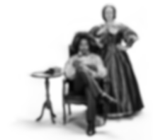 Ro Boddie as Frederick Douglass, seated holdig a teacup and saucer. Marni Penning as Susan B. Anthony standing next to Ro Boddie with one arm on the chair and the other on her hip. They both look defiantly. On the other side of Ro Boddie is a side table with three books and a newspaper