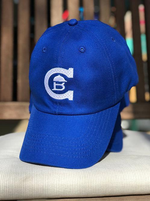 Blå caps m/hvit logo