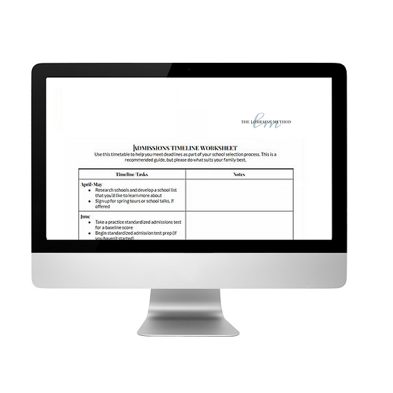 TLM Admissions Application Timeline Worksheet