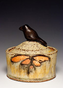 Bird Jar, Shino and Ash Glaze