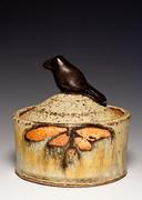 Bird Jar, Shino and Ash Glaze