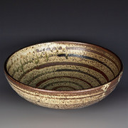 Serving Bowl, Ash Glaze with Slips