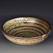 Serving Bowl, Ash Glaze with Slips