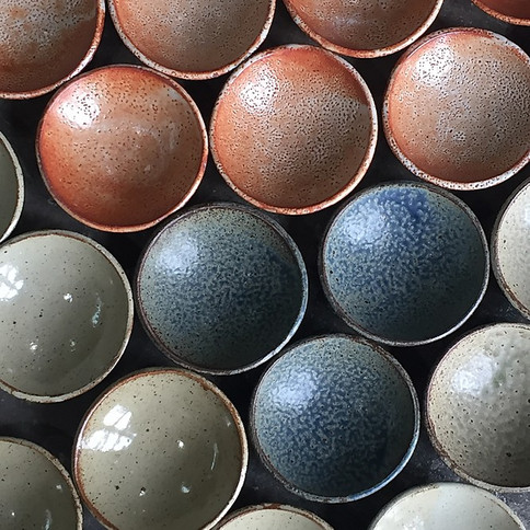 Mexxe Bowls - Shino and Blue:white Glaze