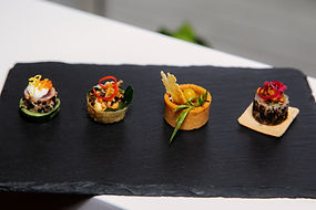 close up of canapes and food in social e