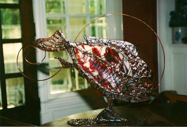 Red Fish Slump Glass and Steel
