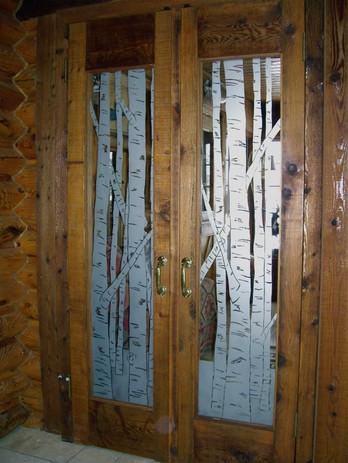 Etching Of Birch Tree's On Double Doors