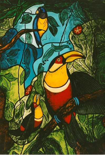 Mawca Birds Painted On Fired Glass