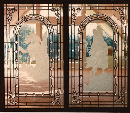 Sand Carved Sea Maidens And Beveled Glass On Sliding Doors