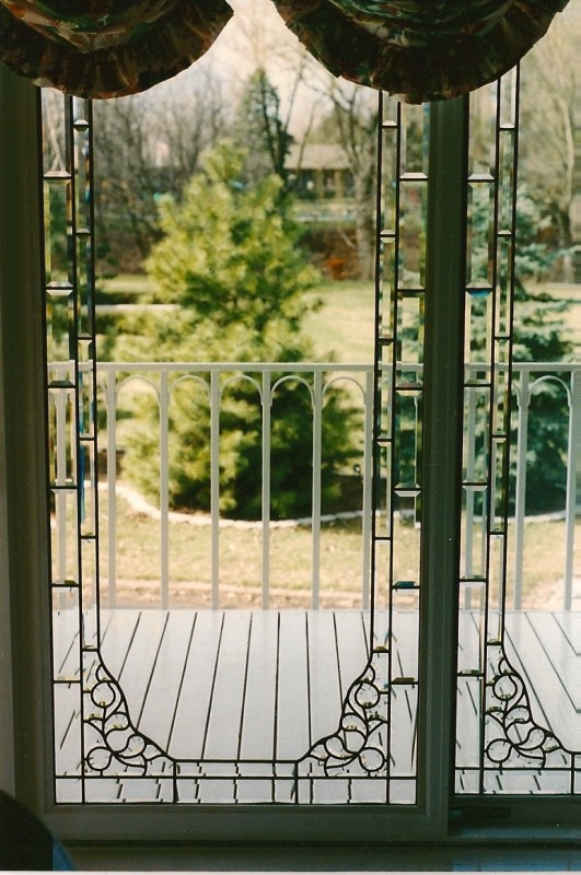 Beveled And Clear Glass Window Treatment