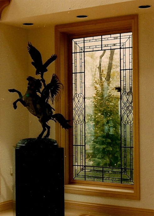 Leaded Glass With Clear Textures Window Treatment