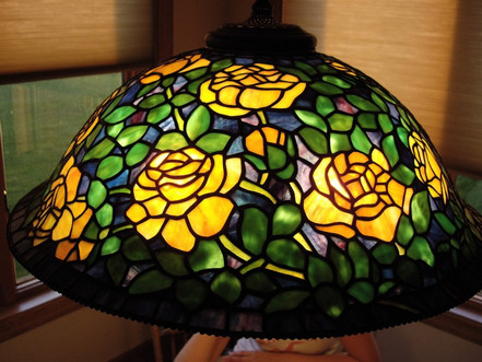 Rose Bush In Yellow Tiffany Reproduction