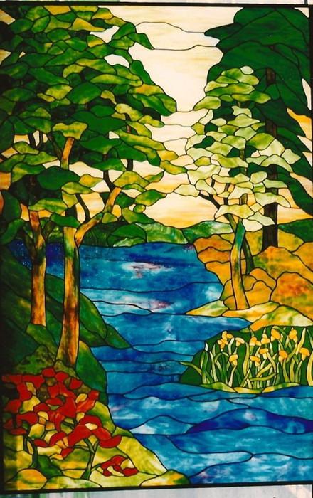 Tiffany Style Landscape Window