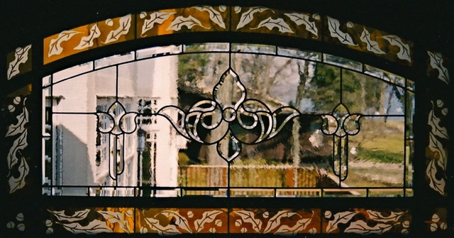 Beveled Cluster Window With Etching On Flashed Glass Border
