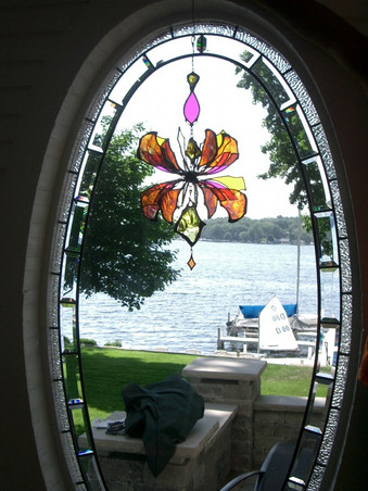 Beveled Glass Window Treatment With Dichroic Hanging Sculpture