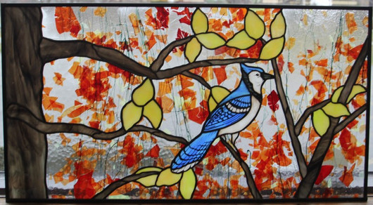 Blue Jay With Fracture Glass Window