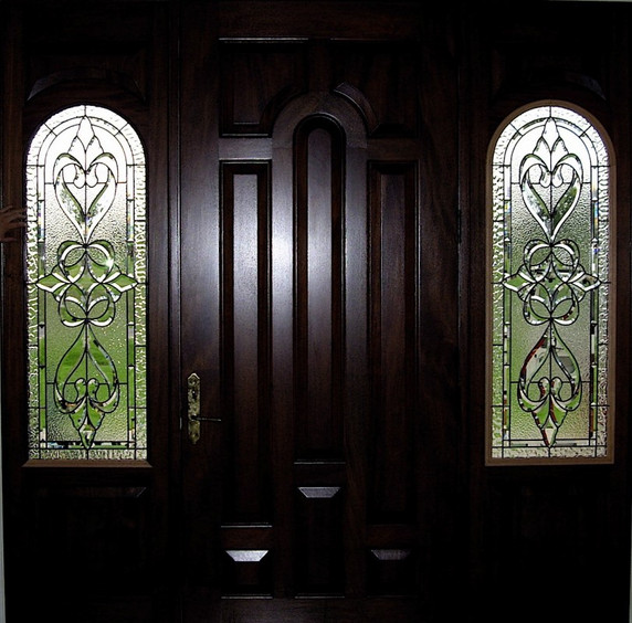 Beveled Glass And Clear Texture Entryway Sidelight Windows