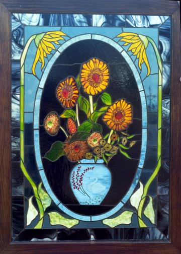 Still Life Sunflower Using Fused Glass