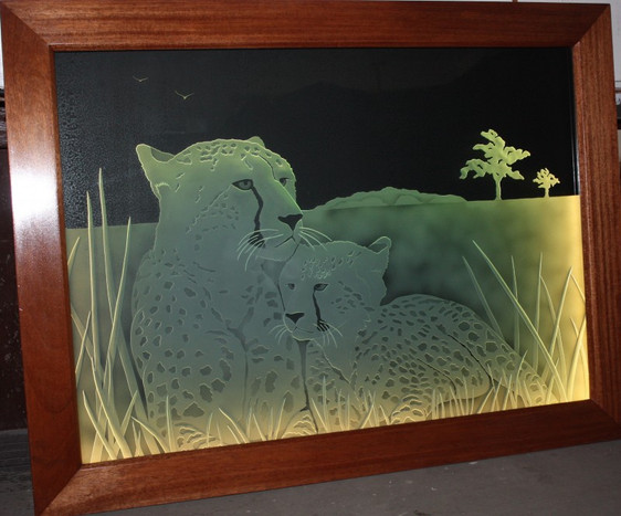 Sand Carved and Edge Lit Window