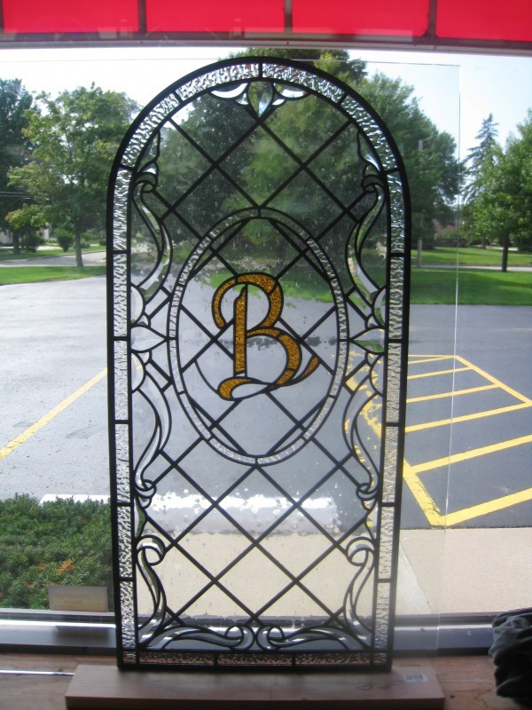 Custom Monogram On Leaded Glass Panel