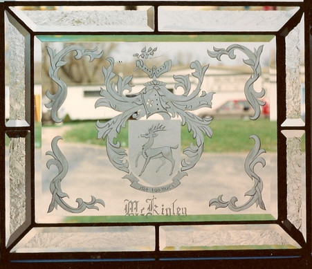 Beveled Glass With Etched Sand-Carving