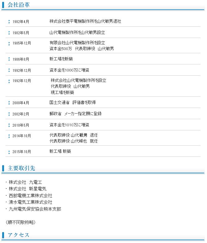 会社沿革  キュービクル製造・販売の山代電機製作所【制御盤-分電盤-配電盤】2.