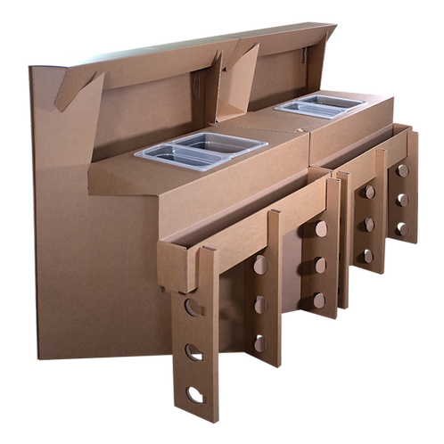 Postazioni Cocktail modulabili e trasportabili in cartone resistente e liscio unite da un tappo