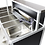 Workstation Omega 15 150 cm con accessori e tappi in acciaio inox satinato ultra resistente