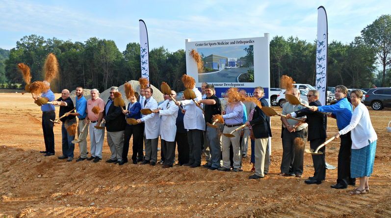 Representatives from Center for Sports Medicine & Orthopaedics, Catoosa County Economic Development Authority, Catoosa County, and the City of Ringgold participate in Ground Breaking festivities.