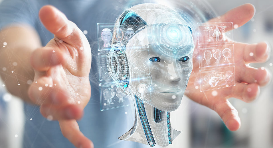 Businessman on blurred background using digital artificial intelligence interface 3D rende