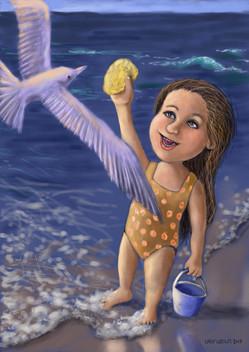 Feeding Her Gull Friend