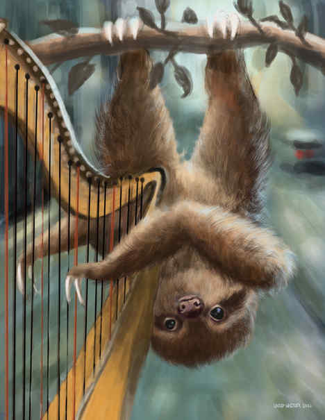 Busking Sloth Harpist
