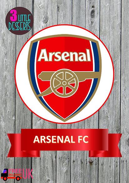 "Arsenal FC Cake Topper & Banner WAFER/ ICING Sheet Cake Topper 6"" & Banner 7""x2"""