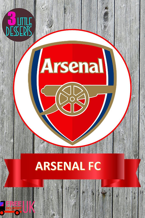 "Arsenal FC Cake Topper & Banner WAFER/ ICING Sheet Cake Topper 6"" & Banner 7""x2"""