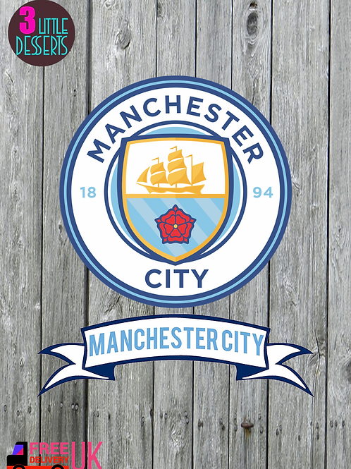 "MANCHESTER CITY Cake Topper 6"" Banner 7x2"" WAFER/ ICING Sheet Cake Topper"