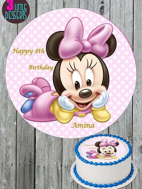 """MINNIE MOUSE  7.5"""" Round Edible Birthday Cake Topper ICING PERSONALISED"""