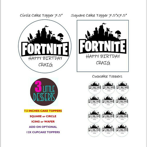 FORTNITE Game Edible Icing or Wafer Cupcake Cake Topper Birthday